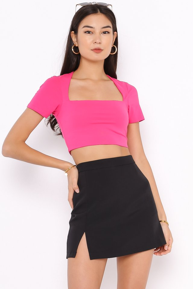 *BACKORDER* CLAUDIE CUT-IN TOP (HOT PINK)