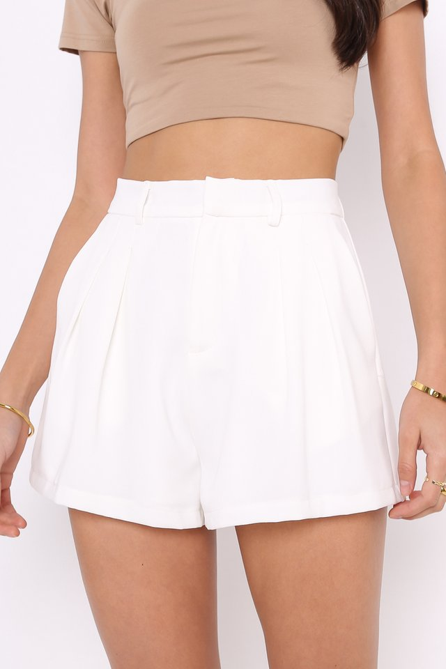 *BACKORDER* PERCY PLEATED FLARE SHORTS (WHITE)