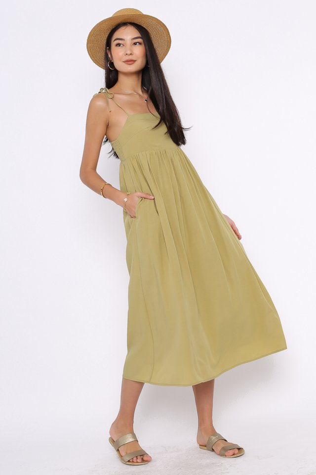 TINA TIE STRING DRESS (MUTED OLIVE)