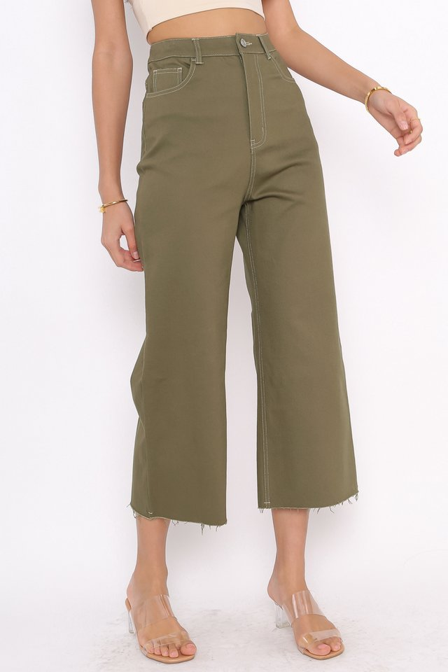 CONOR CONTRAST STITCH CROPPED JEANS (ARMY GREEN)