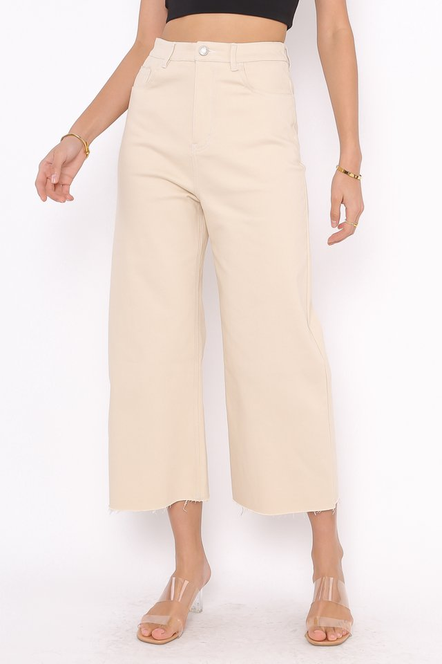 *BACKORDER* CONOR CONTRAST STITCH CROPPED JEANS (KHAKI)