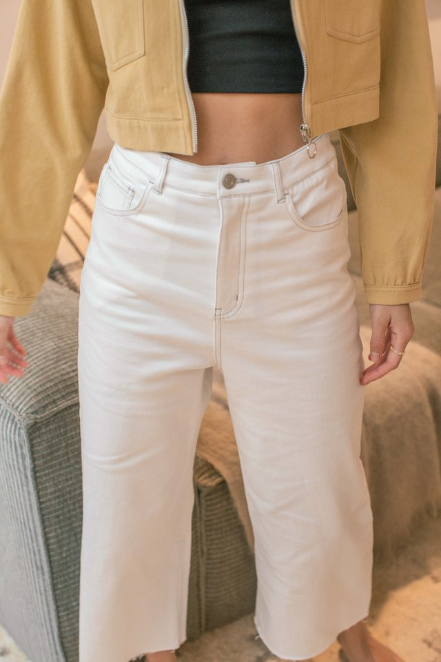 CONOR CONTRAST STITCH CROPPED JEANS (WHITE)