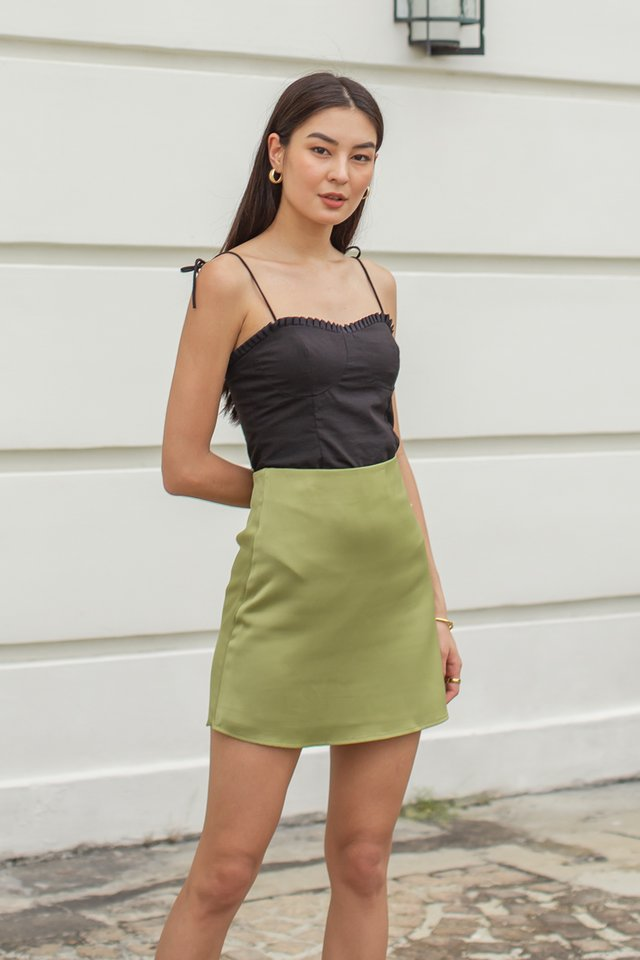 SHELBY SATIN SKIRT (OLIVE)
