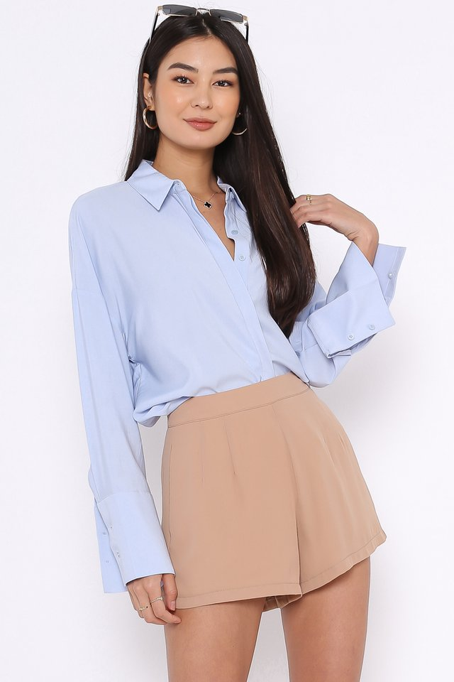 WANDA WIDE CUFF SHIRT (POWDER BLUE)