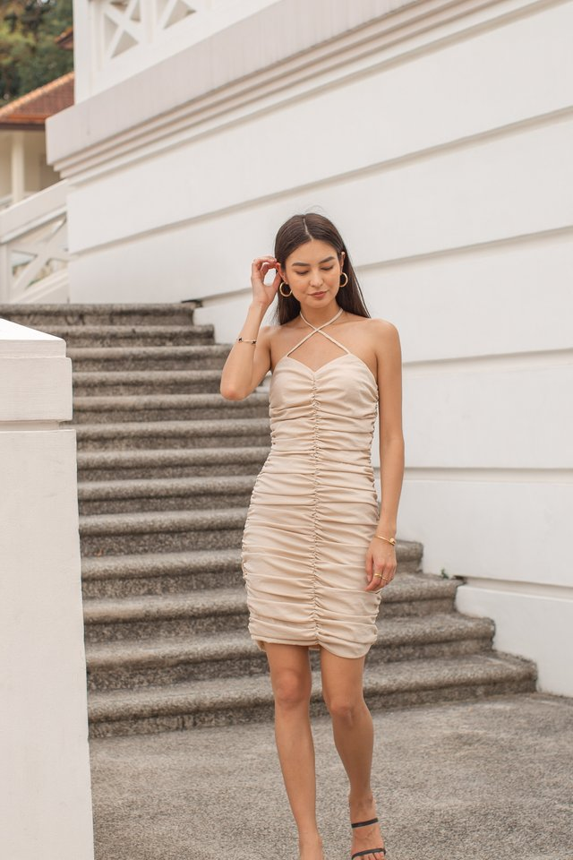 RITA RUCHED DRESS (LIGHT SAND)